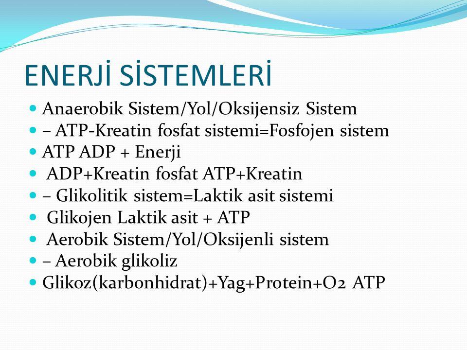 ENERJİ SİSTEMLERİ Anaerobik Sistem/Yol/Oksijensiz Sistem – ATP-Kreatin fosfat sistemi=Fosfojen sistem ATP ADP + Enerji ADP+Kreatin fosfat ATP+Kreatin