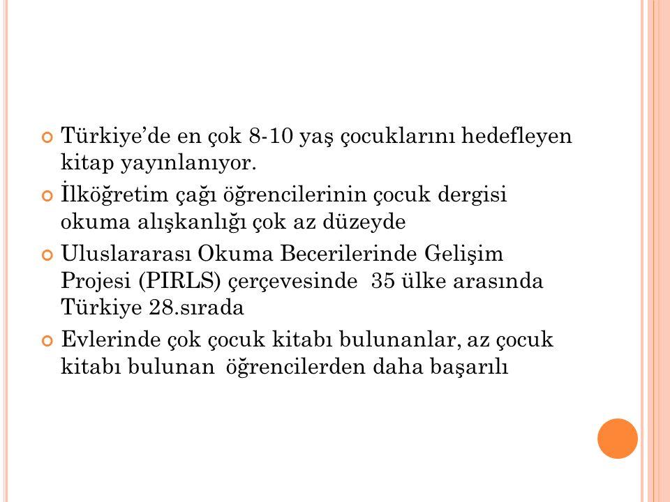 Türkiye'de en çok 8-10 yaş çocuklarını hedefleyen kitap yayınlanıyor.
