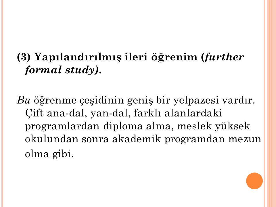 (3) Yapılandırılmış ileri öğrenim ( further formal study).