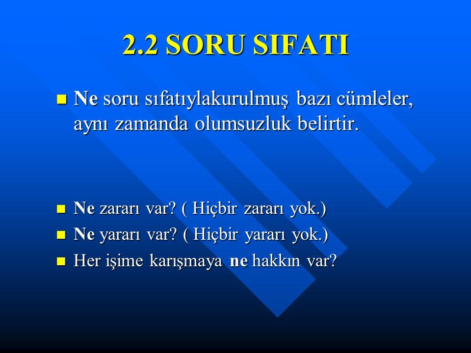 2.2 SORU SIFATI Ne soru sıfatıylakurulmuş bazı cümleler, aynı zamanda olumsuzluk belirtir. Ne soru sıfatıylakurulmuş bazı cümleler, aynı zamanda olums
