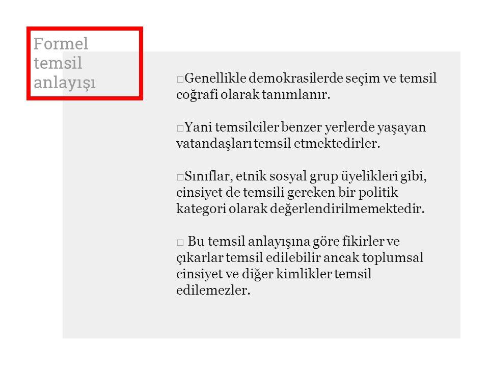 Formel temsil anlayışı □Genellikle demokrasilerde seçim ve temsil coğrafi olarak tanımlanır.