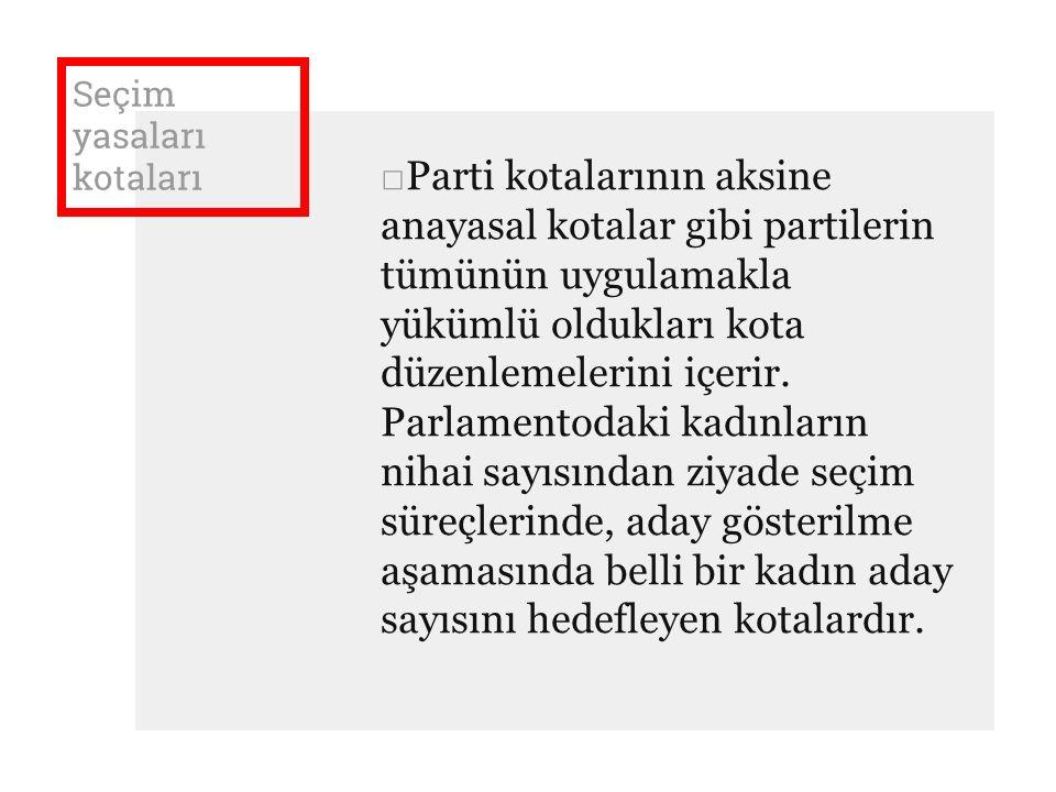 Seçim yasaları kotaları □Parti kotalarının aksine anayasal kotalar gibi partilerin tümünün uygulamakla yükümlü oldukları kota düzenlemelerini içerir.