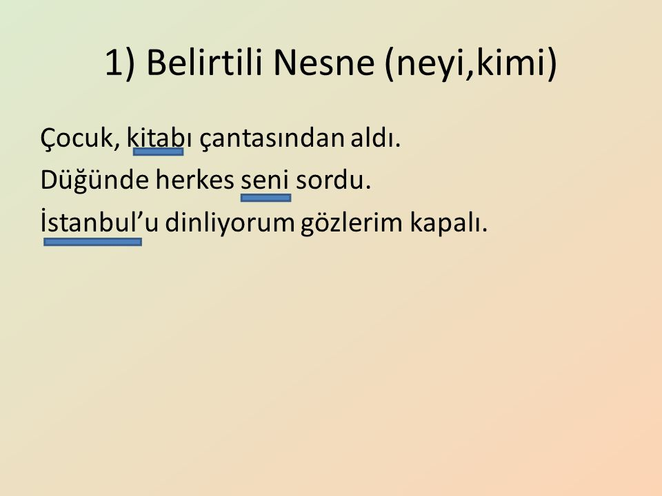1) Belirtili Nesne (neyi,kimi) Çocuk, kitabı çantasından aldı. Düğünde herkes seni sordu. İstanbul'u dinliyorum gözlerim kapalı.