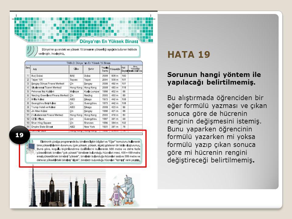 HATA 19 Sorunun hangi yöntem ile yapılacağı belirtilmemiş.