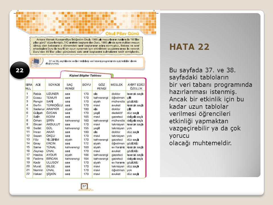 HATA 22 Bu sayfada 37. ve 38.