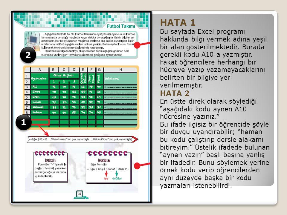 HATA 1 Bu sayfada Excel programı hakkında bilgi vermek adına yeşil bir alan gösterilmektedir.