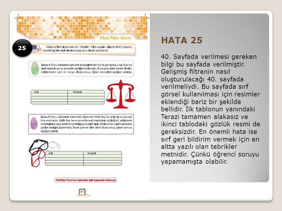 HATA 25 40. Sayfada verilmesi gereken bilgi bu sayfada verilmiştir.