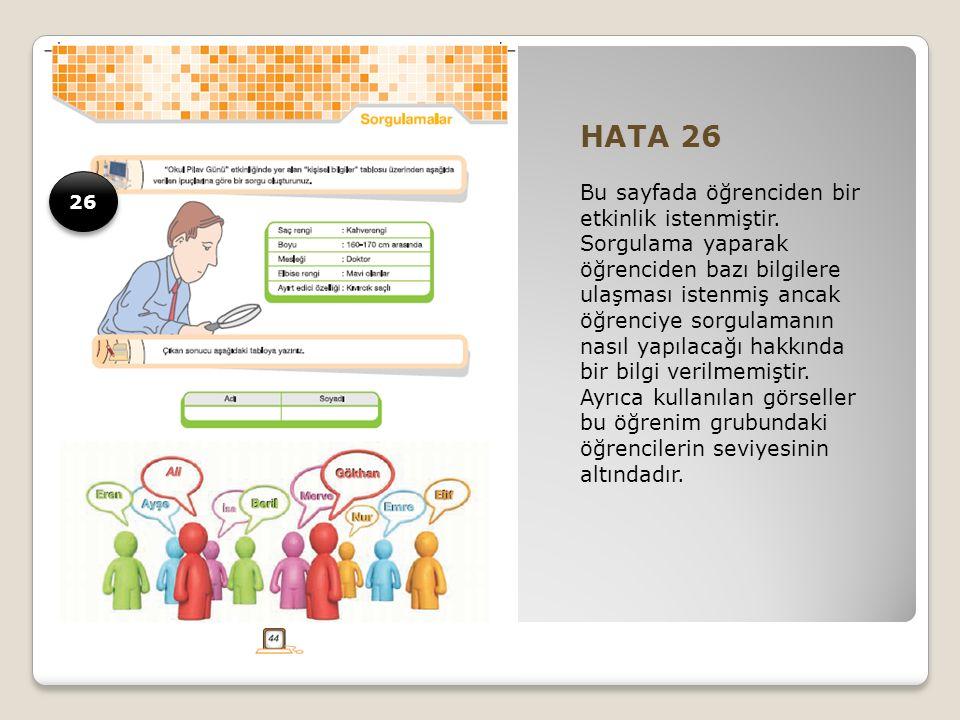 HATA 26 Bu sayfada öğrenciden bir etkinlik istenmiştir.