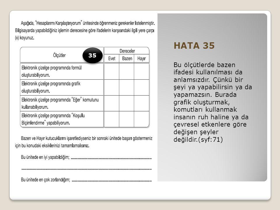 HATA 35 Bu ölçütlerde bazen ifadesi kullanılması da anlamsızdır.