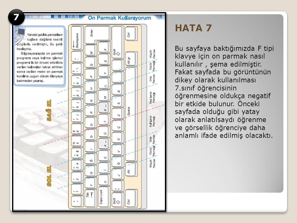 HATA 7 Bu sayfaya baktığımızda F tipi klavye için on parmak nasıl kullanılır, şema edilmiştir.