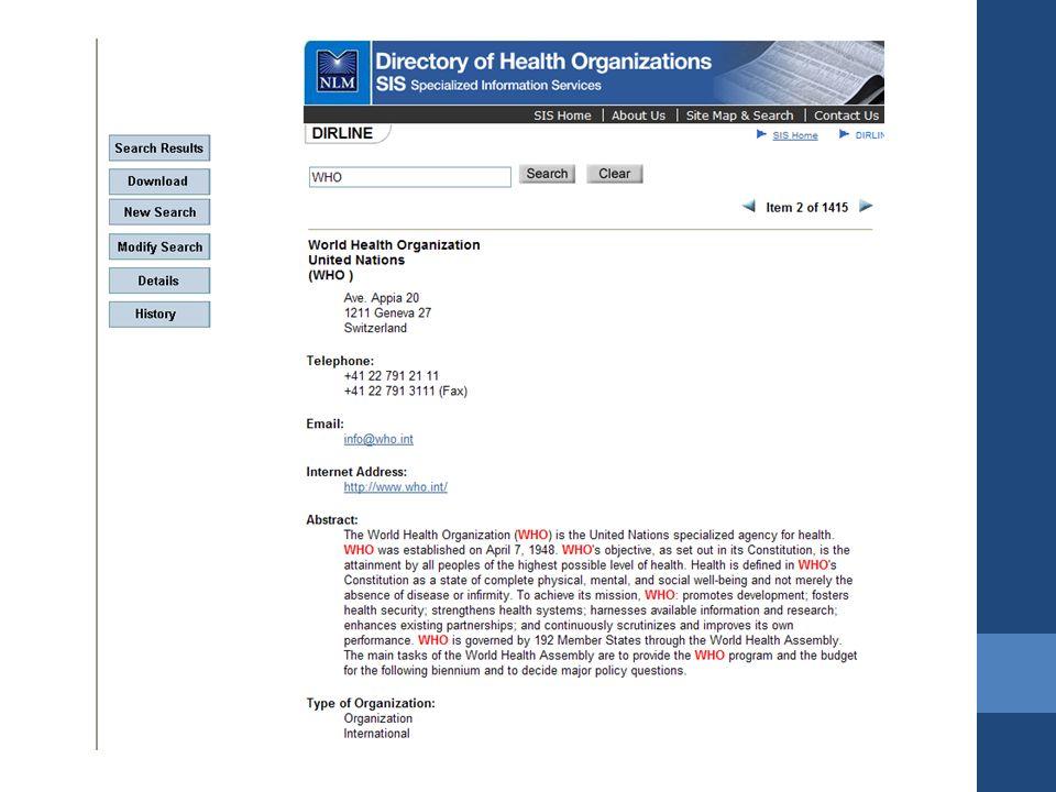 DOCLINE Ulusal Sağlık Kütüphaneleri ağları içerisinde faaliyet gösterir.