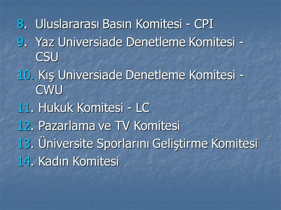 8. Uluslararası Basın Komitesi - CPI 9. Yaz Universiade Denetleme Komitesi - CSU 10. Kış Universiade Denetleme Komitesi - CWU 11. Hukuk Komitesi - LC