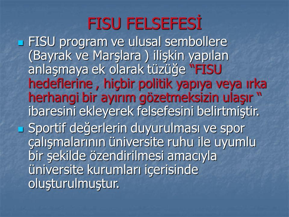 """FISU FELSEFESİ FISU program ve ulusal sembollere (Bayrak ve Marşlara ) ilişkin yapılan anlaşmaya ek olarak tüzüğe """"FISU hedeflerine, hiçbir politik ya"""