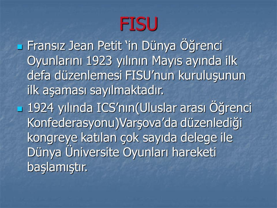 FISU Fransız Jean Petit 'in Dünya Öğrenci Oyunlarını 1923 yılının Mayıs ayında ilk defa düzenlemesi FISU'nun kuruluşunun ilk aşaması sayılmaktadır. Fr