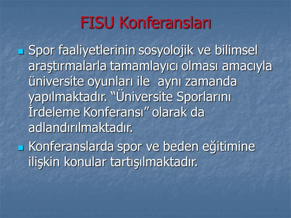 FISU Konferansları Spor faaliyetlerinin sosyolojik ve bilimsel araştırmalarla tamamlayıcı olması amacıyla üniversite oyunları ile aynı zamanda yapılma