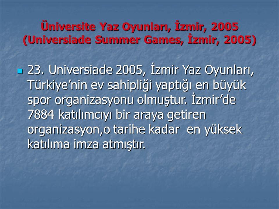 Üniversite Yaz Oyunları, İzmir, 2005 (Universiade Summer Games, İzmir, 2005) 23. Universiade 2005, İzmir Yaz Oyunları, Türkiye'nin ev sahipliği yaptığ