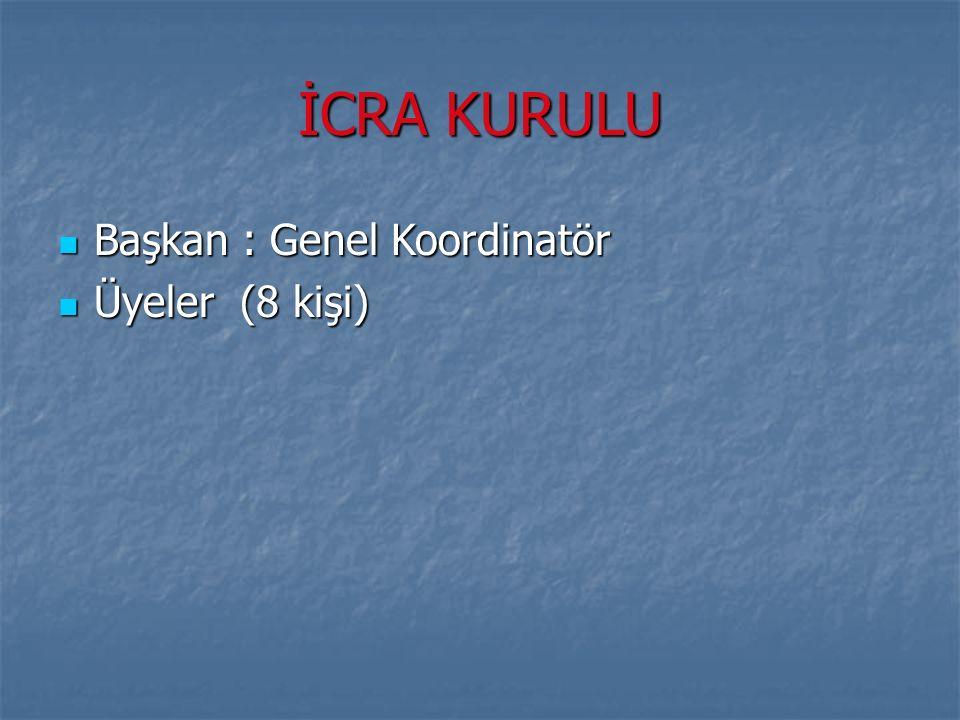 İCRA KURULU Başkan : Genel Koordinatör Başkan : Genel Koordinatör Üyeler (8 kişi) Üyeler (8 kişi)