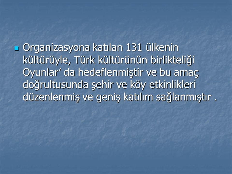 Organizasyona katılan 131 ülkenin kültürüyle, Türk kültürünün birlikteliği Oyunlar' da hedeflenmiştir ve bu amaç doğrultusunda şehir ve köy etkinlikle