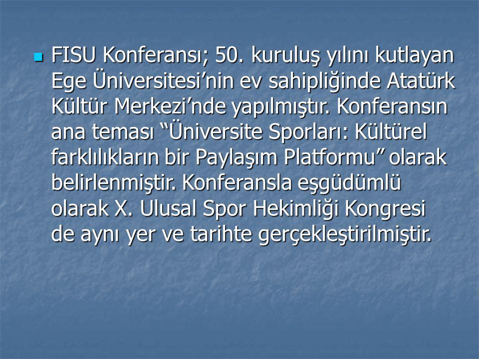 """FISU Konferansı; 50. kuruluş yılını kutlayan Ege Üniversitesi'nin ev sahipliğinde Atatürk Kültür Merkezi'nde yapılmıştır. Konferansın ana teması """"Üniv"""