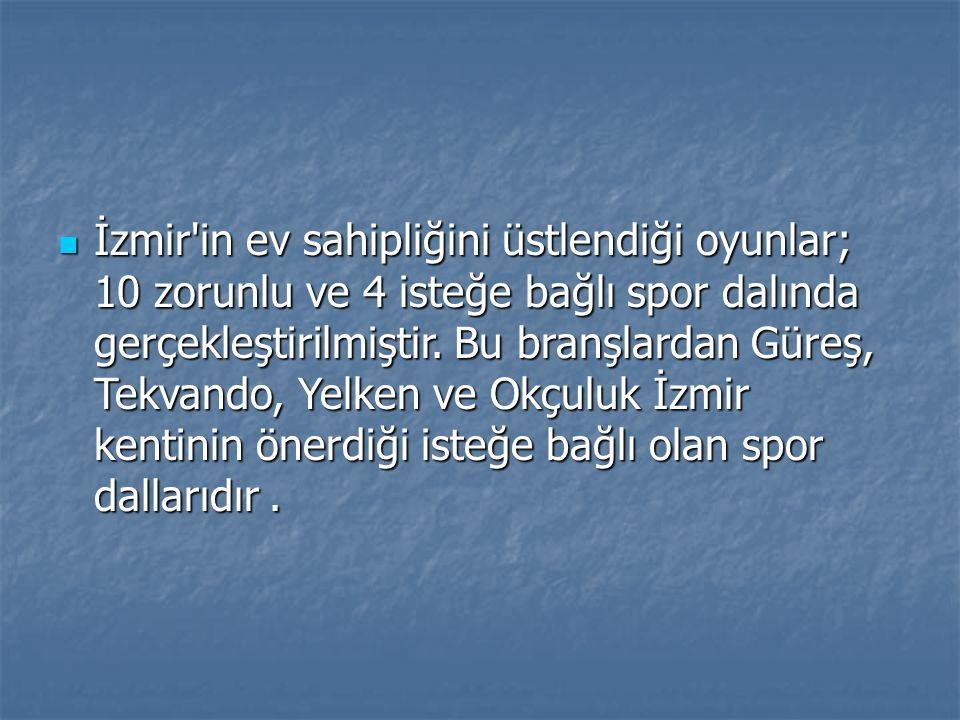 İzmir'in ev sahipliğini üstlendiği oyunlar; 10 zorunlu ve 4 isteğe bağlı spor dalında gerçekleştirilmiştir. Bu branşlardan Güreş, Tekvando, Yelken ve