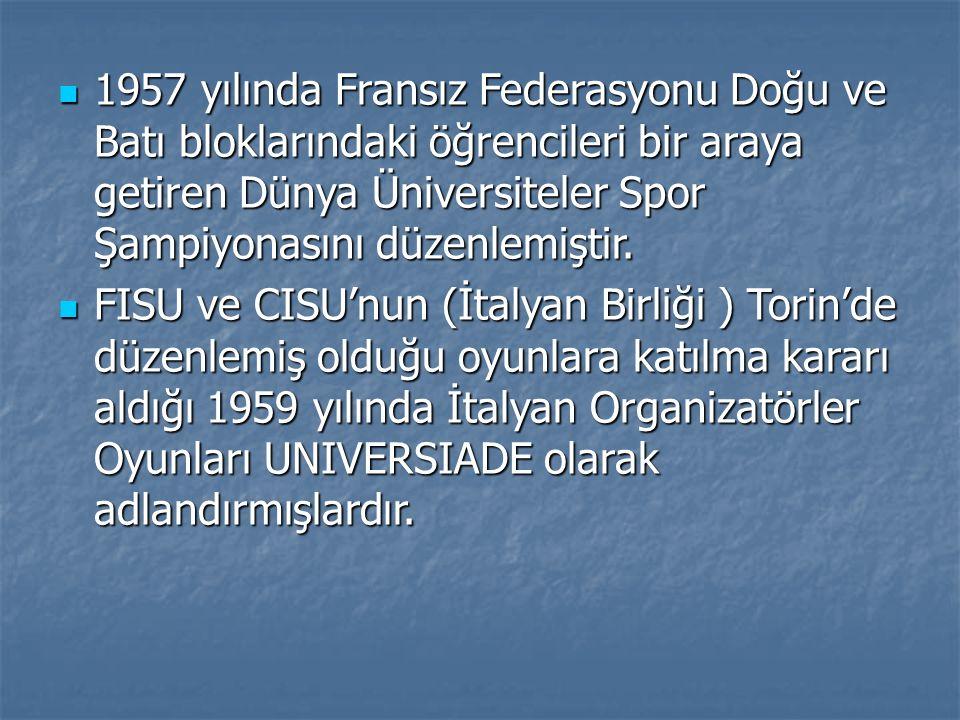 1957 yılında Fransız Federasyonu Doğu ve Batı bloklarındaki öğrencileri bir araya getiren Dünya Üniversiteler Spor Şampiyonasını düzenlemiştir. 1957 y