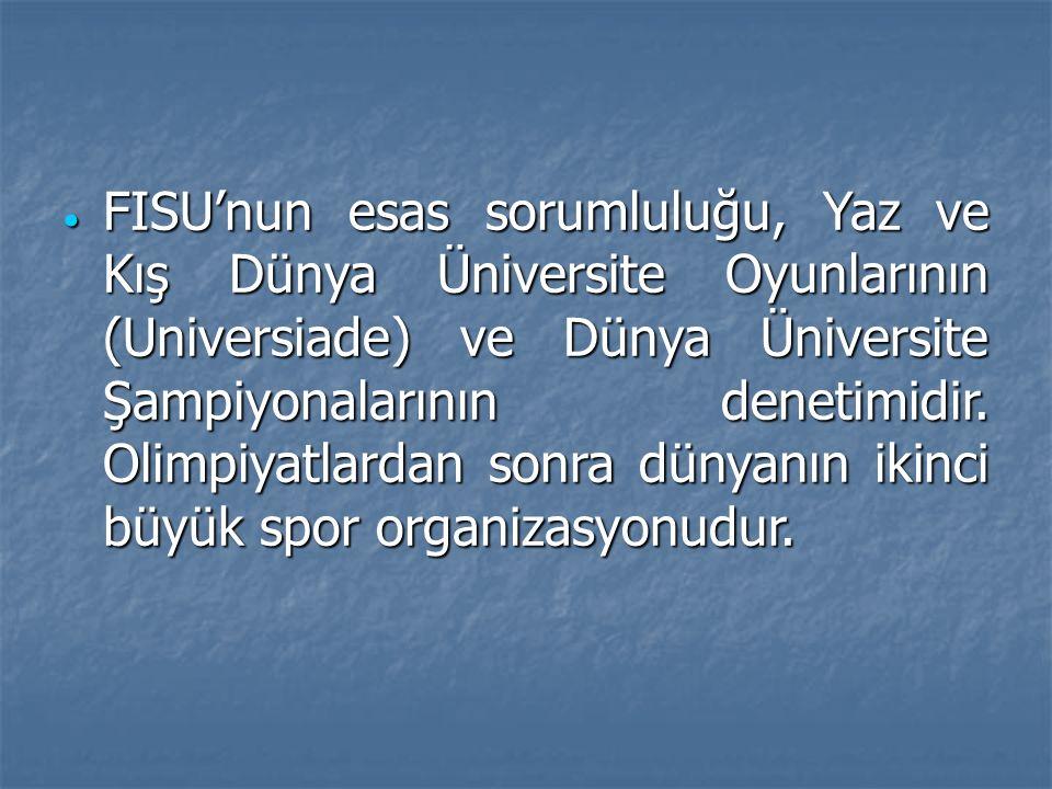  FISU'nun esas sorumluluğu, Yaz ve Kış Dünya Üniversite Oyunlarının (Universiade) ve Dünya Üniversite Şampiyonalarının denetimidir. Olimpiyatlardan s