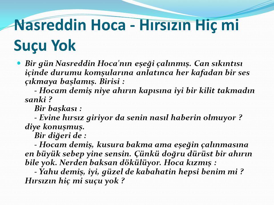 Nasreddin Hoca - Hırsızın Hiç mi Suçu Yok Bir gün Nasreddin Hoca nın eşeği çalınmış.