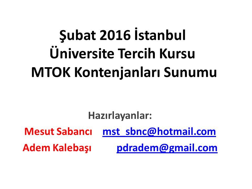 Şubat 2016 İstanbul Üniversite Tercih Kursu MTOK Kontenjanları Sunumu Hazırlayanlar: Mesut Sabancı mst_sbnc@hotmail.commst_sbnc@hotmail.com Adem Kalebaşı pdradem@gmail.compdradem@gmail.com