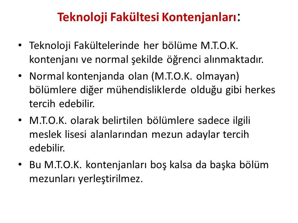 Teknoloji Fakültesi Kontenjanları : Teknoloji Fakültelerinde her bölüme M.T.O.K. kontenjanı ve normal şekilde öğrenci alınmaktadır. Normal kontenjanda