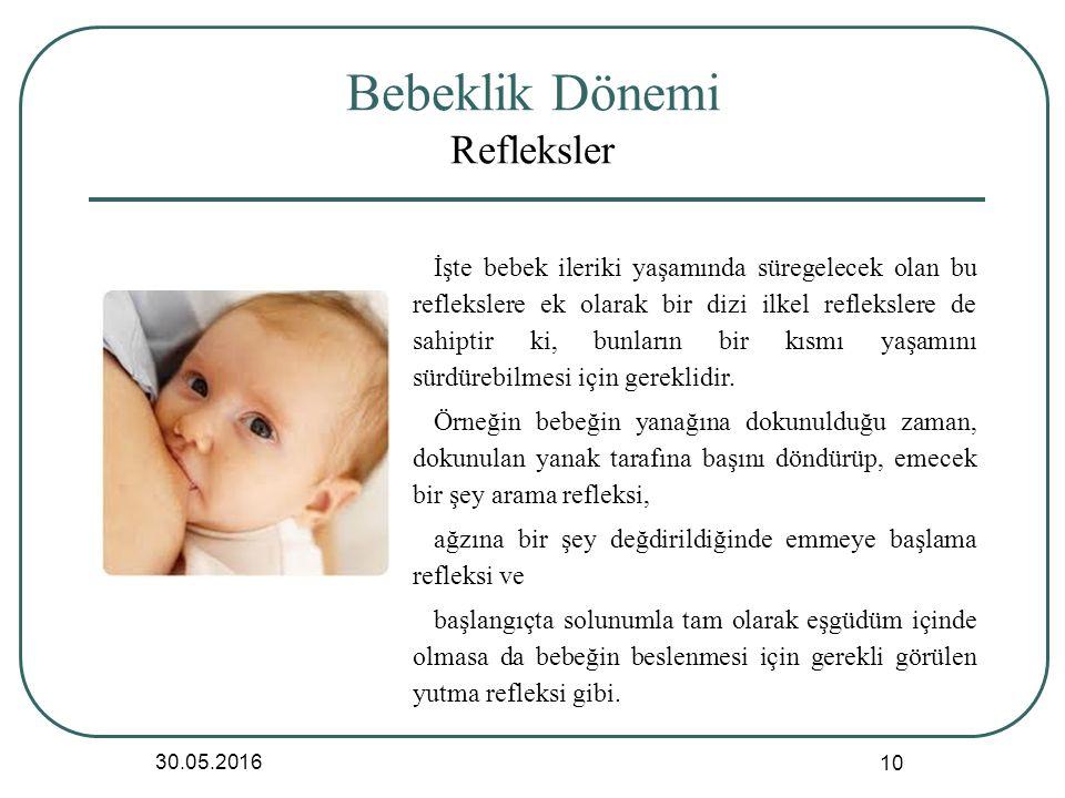 Bebeklik Dönemi Refleksler 30.05.2016 10 İşte bebek ileriki yaşamında süregelecek olan bu reflekslere ek olarak bir dizi ilkel reflekslere de sahiptir ki, bunların bir kısmı yaşamını sürdürebilmesi için gereklidir.