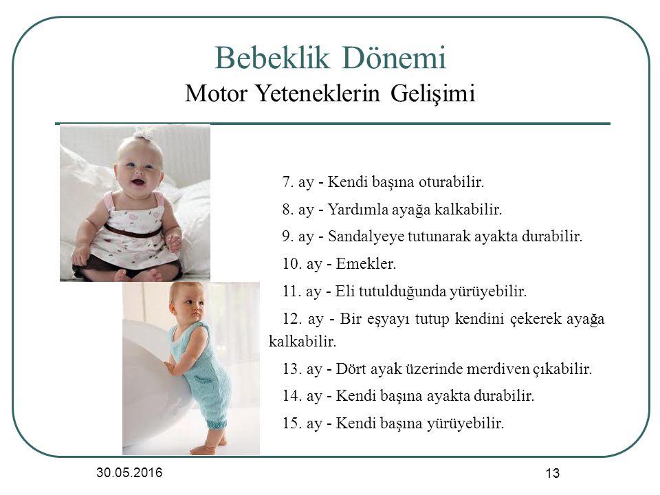 Bebeklik Dönemi Motor Yeteneklerin Gelişimi 30.05.2016 13 7.