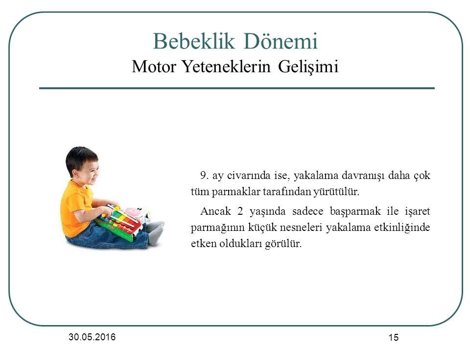 Bebeklik Dönemi Motor Yeteneklerin Gelişimi 30.05.2016 15 9.