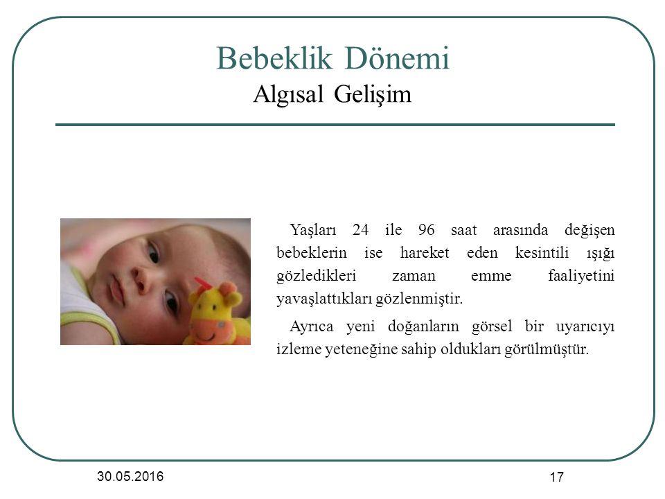 Bebeklik Dönemi Algısal Gelişim 30.05.2016 17 Yaşları 24 ile 96 saat arasında değişen bebeklerin ise hareket eden kesintili ışığı gözledikleri zaman emme faaliyetini yavaşlattıkları gözlenmiştir.