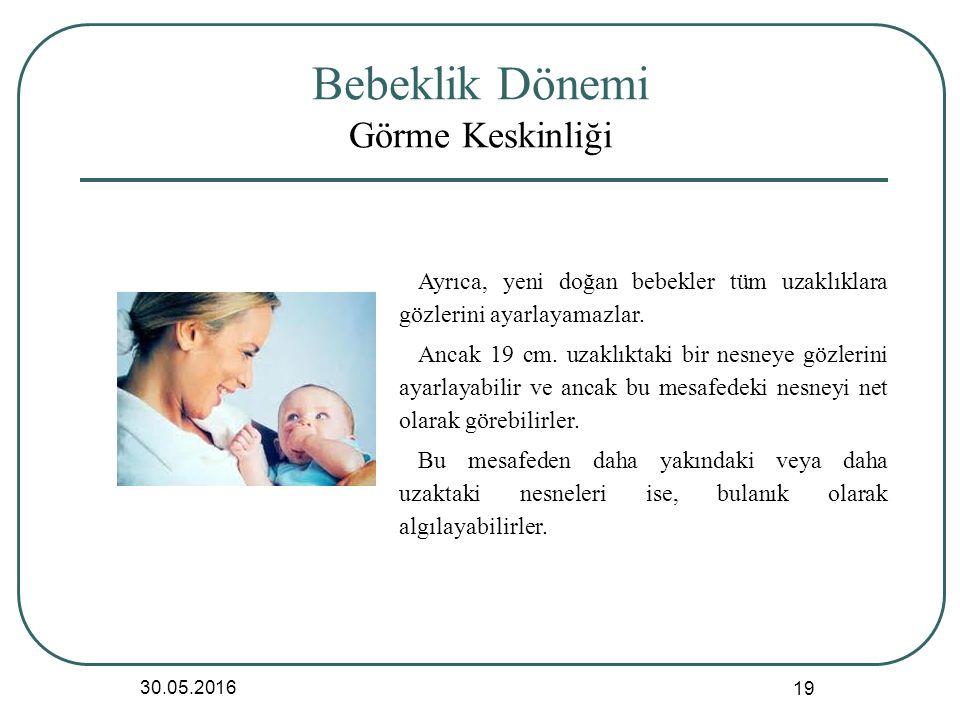 Bebeklik Dönemi Görme Keskinliği 30.05.2016 19 Ayrıca, yeni doğan bebekler tüm uzaklıklara gözlerini ayarlayamazlar.