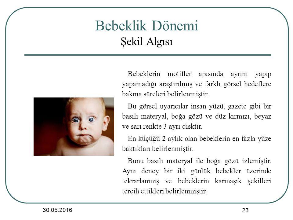 Bebeklik Dönemi Şekil Algısı 30.05.2016 23 Bebeklerin motifler arasında ayrım yapıp yapamadığı araştırılmış ve farklı görsel hedeflere bakma süreleri belirlenmiştir.