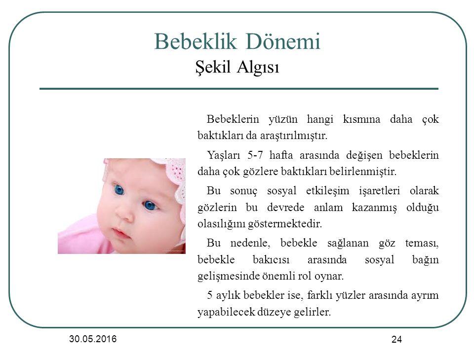 Bebeklik Dönemi Şekil Algısı 30.05.2016 24 Bebeklerin yüzün hangi kısmına daha çok baktıkları da araştırılmıştır.