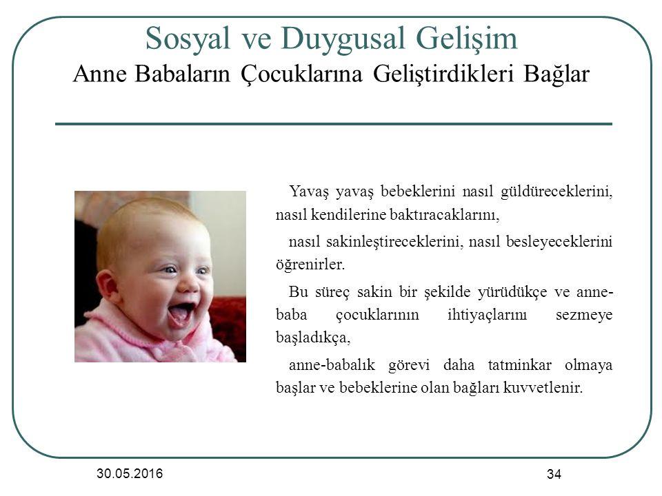 Sosyal ve Duygusal Gelişim Anne Babaların Çocuklarına Geliştirdikleri Bağlar 30.05.2016 34 Yavaş yavaş bebeklerini nasıl güldüreceklerini, nasıl kendilerine baktıracaklarını, nasıl sakinleştireceklerini, nasıl besleyeceklerini öğrenirler.