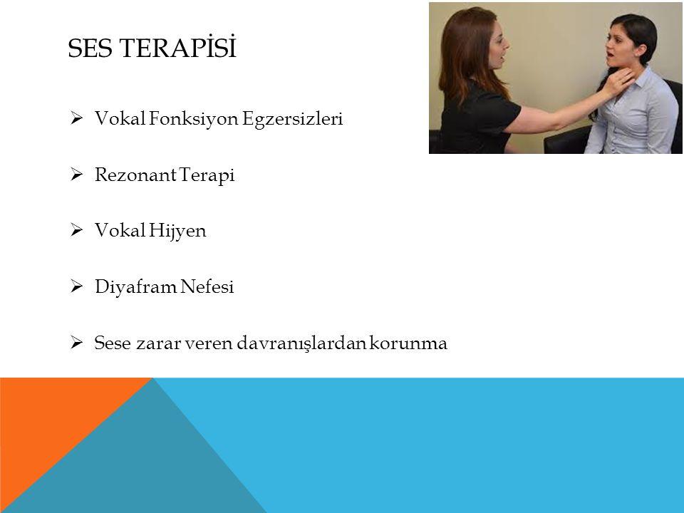 SES TERAPİSİ  Vokal Fonksiyon Egzersizleri  Rezonant Terapi  Vokal Hijyen  Diyafram Nefesi  Sese zarar veren davranışlardan korunma