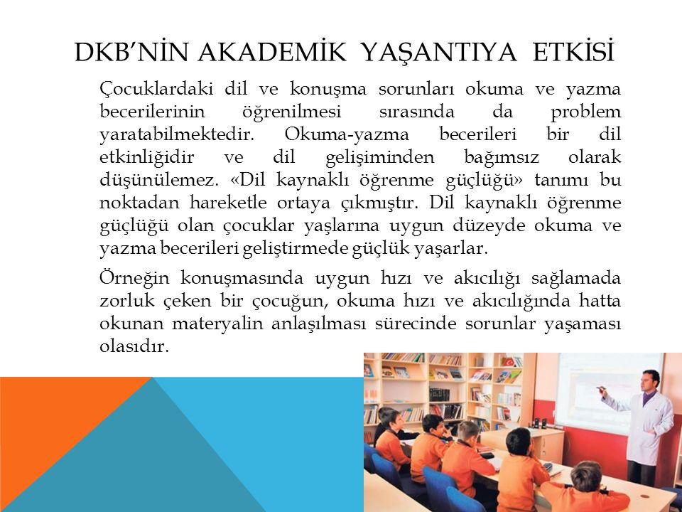 DKB'NİN AKADEMİK YAŞANTIYA ETKİSİ Çocuklardaki dil ve konuşma sorunları okuma ve yazma becerilerinin öğrenilmesi sırasında da problem yaratabilmektedir.