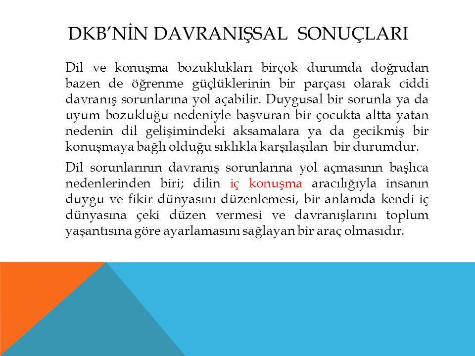 DKB'NİN DAVRANIŞSAL SONUÇLARI Dil ve konuşma bozuklukları birçok durumda doğrudan bazen de öğrenme güçlüklerinin bir parçası olarak ciddi davranış sorunlarına yol açabilir.