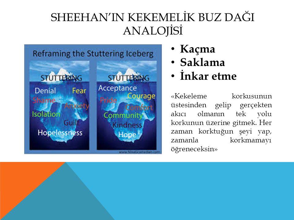 SHEEHAN'IN KEKEMELİK BUZ DAĞI ANALOJİSİ Kaçma Saklama İnkar etme «Kekeleme korkusunun üstesinden gelip gerçekten akıcı olmanın tek yolu korkunun üzeri