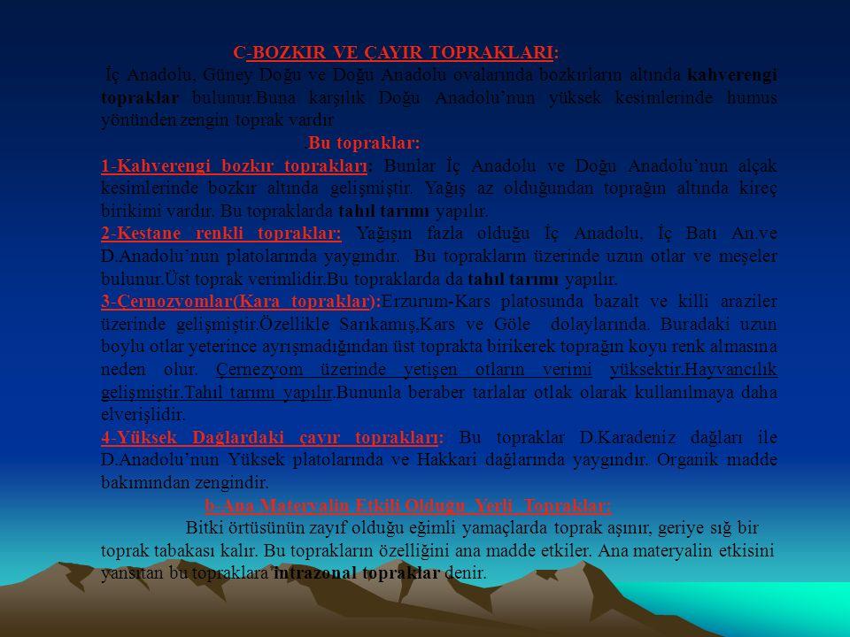 B-ORMAN TOPRAKLARI: Bu topraklar Karadeniz in büyük bir bölümünde, İç Anadolu'nun yüksek kesimlerinde, Yıldız dağlarında, İç batı Ege'de, Güneydoğu Toroslar da yaygındır.