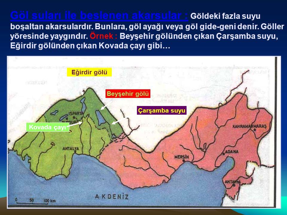 Sel rejimli akarsular : Sağanak yağışlarla birden kabaran, daha sonra ise kuruyacak hale gelen akarsulardır.