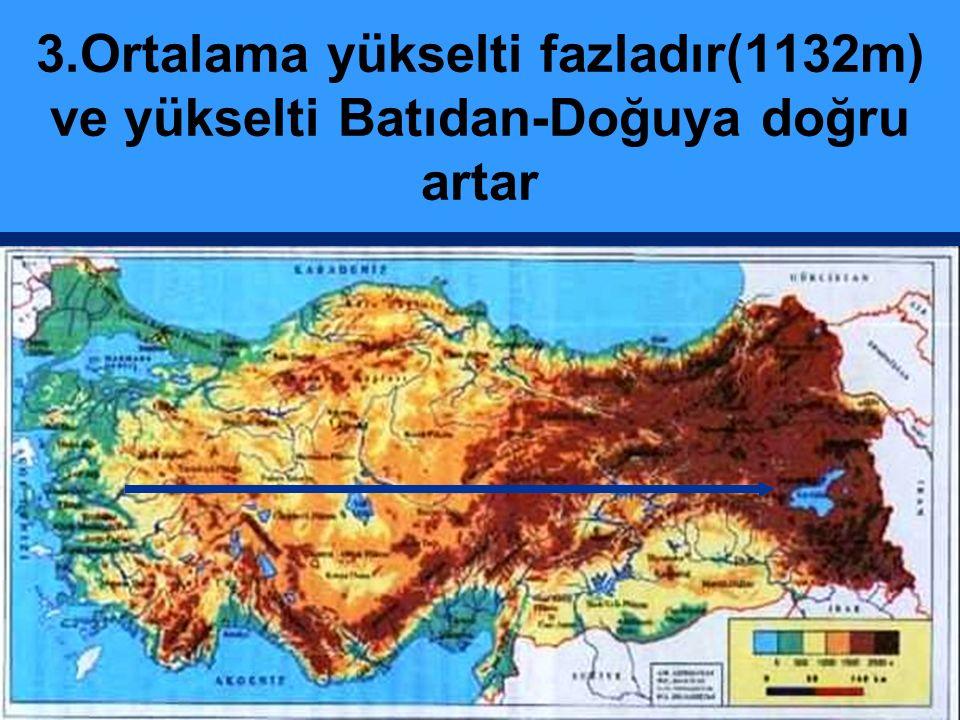 3.Ortalama yükselti fazladır(1132m) ve yükselti Batıdan-Doğuya doğru artar