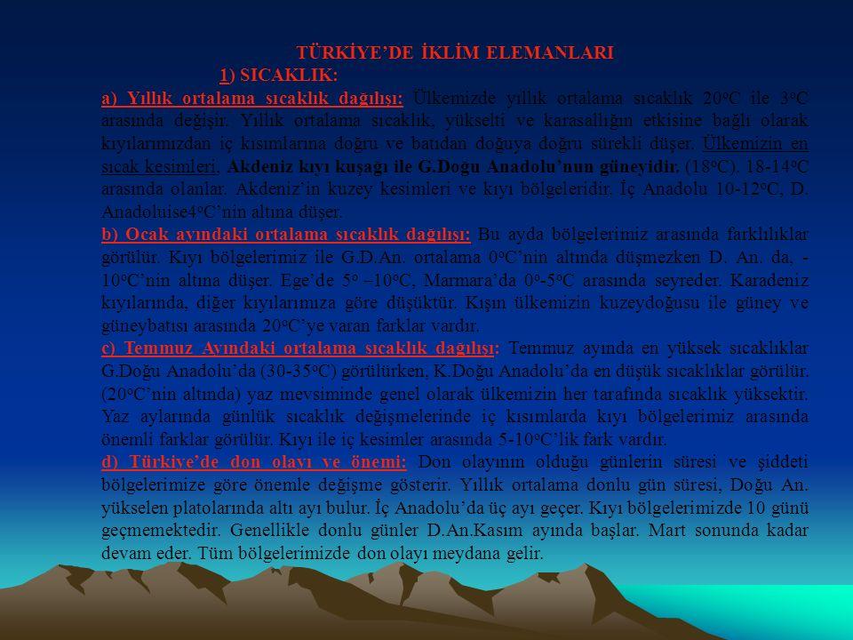 3-YERYÜZÜ ŞEKİLLERİNİN ETKİSİ: a) Yükselti: Türkiye'de sıcaklık, yükseltinin artmasına bağlı olarak batıdan doğuya, kıyıdan iç kesimlere doğru azalır.