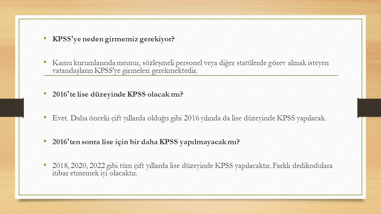 2016 te lise KPSS hangi tarihte yapılacak?