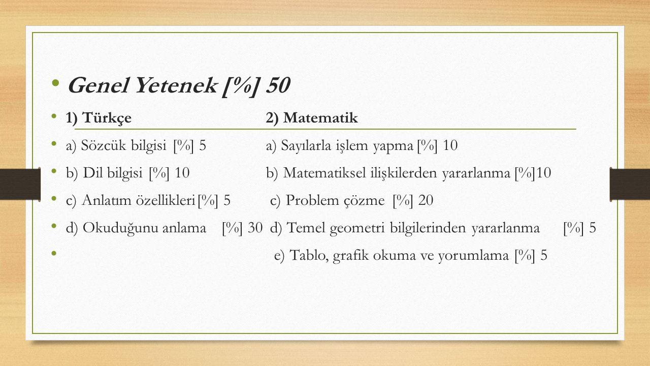 Genel Yetenek [%] 50 1) Türkçe 2) Matematik a) Sözcük bilgisi[%] 5 a) Sayılarla işlem yapma[%] 10 b) Dil bilgisi[%] 10 b) Matematiksel ilişkilerden ya