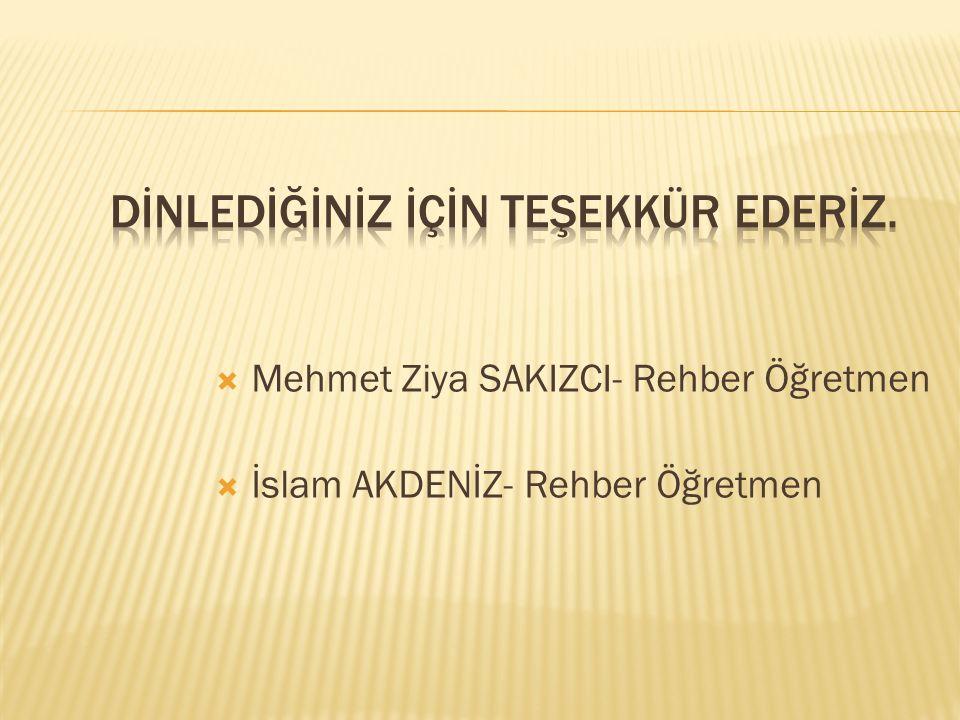  Mehmet Ziya SAKIZCI- Rehber Öğretmen  İslam AKDENİZ- Rehber Öğretmen