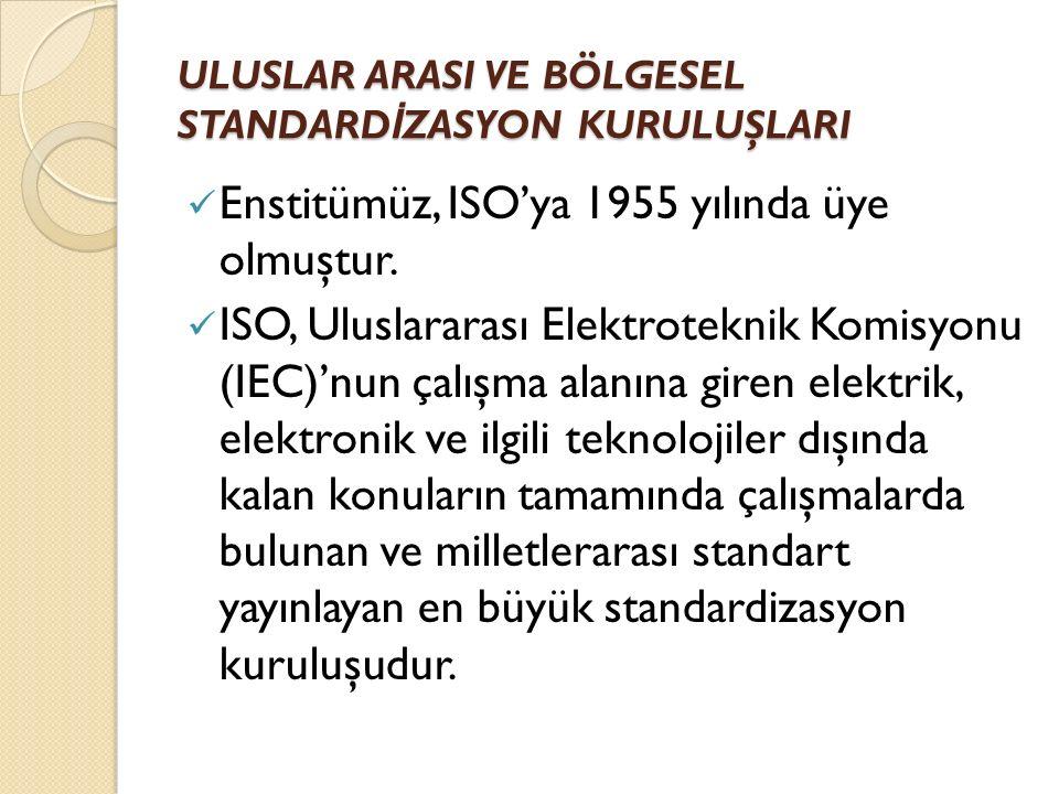 ULUSLAR ARASI VE BÖLGESEL STANDARD İ ZASYON KURULUŞLARI Enstitümüz, ISO'ya 1955 yılında üye olmuştur.