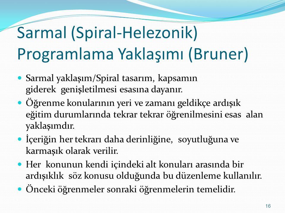 Sarmal (Spiral-Helezonik) Programlama Yaklaşımı (Bruner) Sarmal yaklaşım/Spiral tasarım, kapsamın giderek genişletilmesi esasına dayanır. Öğrenme konu